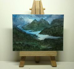 Aceo original landscape lake mountains forest trees birds metcalfe