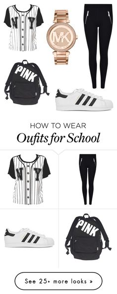"""""""school"""" by safia-mberwa on Polyvore featuring adidas Originals, Victoria's Secret and Michael Kors"""