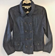 NWT STETSON DENIM STRETCH WOMEN'S DOUBLE BREASTED FITTED JACKET SIZE L #Stetson #JeanJacket