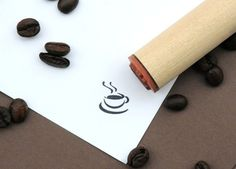 hot coffee, rubber stamp