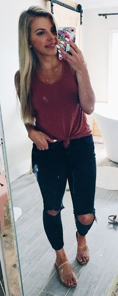 e9dfda59e2  summer  outfits men s maroon tank top and black distress jeans. Black Jeans  Outfit