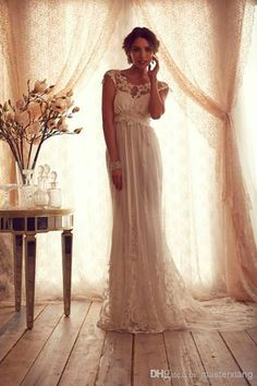 Gossamer Collection Delicate A-line Scoop Lace Sash Poet Chapel Train Wedding Dress Bridal Gown Anna Campbell Custom Made, $194.61 | DHgate.com