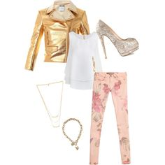 A fashion look from February 2015 featuring Moschino jackets, GUESS leggings and Giuseppe Zanotti pumps. Browse and shop related looks.