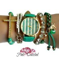 Green Striped Watch Arm Candy Set