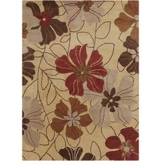 Red Barrel Studio Jonas Floral Beige/Red Area Rug Rug Size: