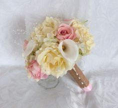Reserved Wedding bouquets and boutonnieres pink blush roses ivory roses white calla lilies green hydrangea