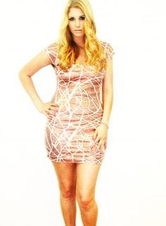 Plus Size Copper Swirl Capsleeve V-Back Dress,  Dress, sequin dress  las vegas dress party, Chic
