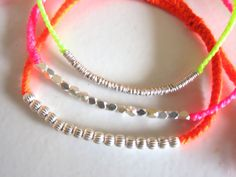 Make this myself  Sterling Silver Hoop beaded Thread Bracelet