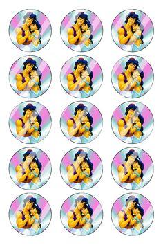 "Aladdin Jasmine Bottle Cap 1"" Circle Images #AJ7 (instant download or pre cut)"