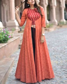 Copper hand block printed crop top in rayon with block printed flared cape Kurta Designs Women, Kurti Neck Designs, Kurti Designs Party Wear, Indian Designer Outfits, Indian Outfits, Designer Dresses, Choli Dress, Indian Gowns Dresses, Designs For Dresses