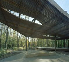 Image 10 of 18 from gallery of The Ruth Lilly Visitors Pavilion / Marlon Blackwell Architect. Photograph by Timothy Hursley Outdoor Shade, Canopy Outdoor, Outdoor Decor, Timber Structure, Shade Structure, Luxury Landscaping, Landscaping Company, Pavilion Architecture, Landscape Architecture