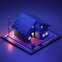 """ArtStation - Night Version of my previous """"A house in japan Low Poly Ângelo Fernandes Modelos Low Poly, Modelos 3d, Isometric Drawing, Isometric Design, Blender 3d, Low Poly Games, New Retro Wave, Low Poly 3d Models, 3d Home"""