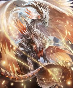 Rage of Bahamut - Holywing Dragon Mythical Creatures Art, Mystical Animals, Magical Creatures, Fantasy Creatures, High Fantasy, Dark Fantasy Art, Fantasy Artwork, Mythical Dragons, Legendary Dragons