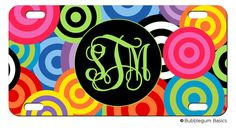 Funky Circles Bright Multi Color custom Car Tag Name Any Color Monogram PERSONALIZED LICENSE Plate  by iselltshirts (https://www.etsy.com/listing/154962831/personalized-license-plate-funky-circles?ref=shop_home_active_11)