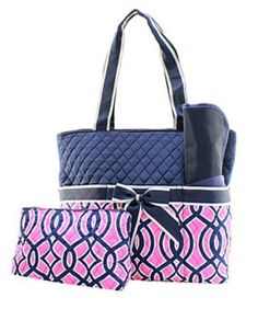 Navy and Hot Pink Baby Girl Diaper Bag Set