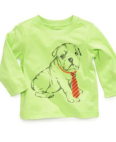 First Impressions Baby Shirt, Baby Boys Long-Sleeved Dog Top - Kids Baby Boy (0-24 months) - Macy's