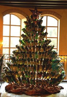 Here is a Christmas tree, made out of empty wine bottles!