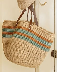 Caslon® Stripe Crochet Straw S Crotchet Bags, Crochet Tote, Crochet Handbags, Crochet Purses, Knitted Bags, Knit Crochet, Crochet Cushion Cover, Handmade Bags, Bag Making