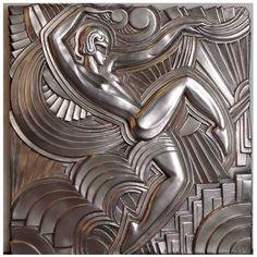 Silvered Art Deco Bas-Relief