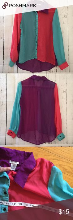 Prototype 80s style medium Colorblock sheer blouse Excellent condition, measurements are posted on the photos, please check, thank you! Super cute!! Prototype Tops Blouses
