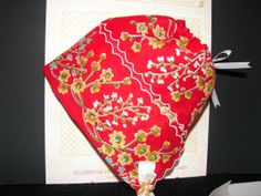This Bonnet is RESERVED Only For NICOLE NICHOLS--Red Floral Print Vintage Hankie Baby Bonnet with Poem Card