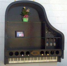 Repurposed piano wine rack, vintage and bohemian