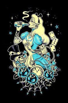 21 Ideas Gothic Art Tattoo Alice In Wonderland Dark Disney, Disney Art, Goth Disney, Pinup, Rockabilly Art, Zombie Disney, Alice Madness, Twisted Disney, Wreck This Journal