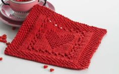 Lily® Sugar'n Cream®  Heart Dishcloth #valentine #heart #knit #pattern