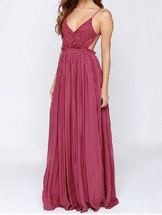 f56de9d5d Sexy Rose Red Lace Spliced V Neck Backless Strap High Waist Maxi Party Dress