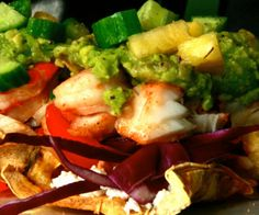 Fresh and light prawn and cod Paleo tostadas with cucumber and pineapple salsa!  http://stalkerville.net/ #paleo #glutenfree