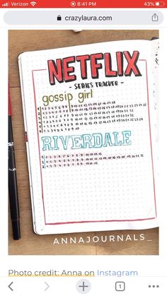 best bullet journal tracker ideas for TV shows and netflix! # credit score tracker bullet journal Best TV Show & Netflix Tracker Ideas Bullet Journal Tracker, Bullet Journal School, Bullet Journal Netflix, Creating A Bullet Journal, Bullet Journal Banner, Bullet Journal Lettering Ideas, Bullet Journal Notebook, Bullet Journal Aesthetic, Bullet Journal Themes