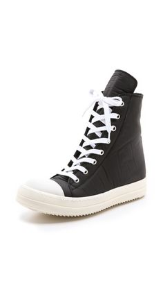 Rick Owens DRKSHDW Ramones High Top Sneakers are a cool coated canvas, much more modern than the usual Converse hightop.  Come check out boutique, Souvenir.  www.shop-souvenir.com