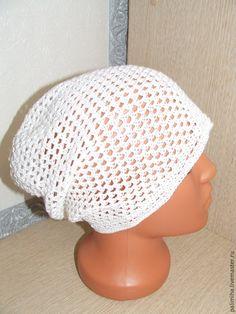 Купить Летние шапки для взрослых - белый, шапка вязаная, шапка женская, шапка крючком, лето
