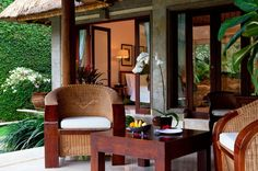 Balinese Traditional Exterior Of Viceroy Bali Resort With Rattan Armchair And Wooden Square Coffee Table: Luxury Viceroy Bali Resort Combine Comfort and Privacy