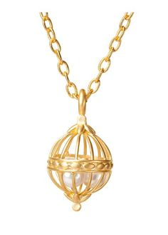 BIRDCAGE PEARL PENDANT GOLD, BP FINISH