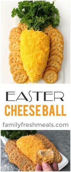Easy Easter Cheese Ball - Family Fresh Meals Easter Snacks, Easter Lunch, Easter Appetizers, Easter Dinner Recipes, Appetizers For Party, Appetizer Recipes, Holiday Recipes, Easter Food, Party Desserts