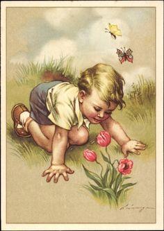 Artist Postcard Lingen, Schmetterlinge, Blumen, Kind