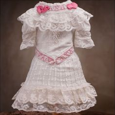antique french doll clothes | Antique white dress for doll 25-27""