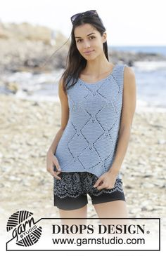 Sunny Island - Knitted top in DROPS Paris. Piece is knitted in garter stitch and lace pattern. Size: S - XXXL - Free pattern by DROPS Design Drops Patterns, Lace Patterns, Knitting Patterns Free, Free Knitting, Drops Design, Knit Vest Pattern, Top Pattern, Free Pattern, Drops Paris