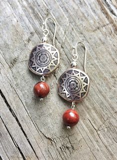 Silver Southwestern Boho Earrings, Silver and Red Earrings