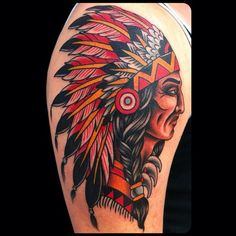 David Bruehltraditional old school indian chief tattoo