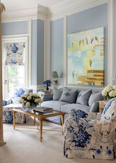 """Schumacher's """"Aylesbury Vase"""" fabric is on the window treatments and side chairs in the master bedroom of my Shadow Valley project, featured in Traditional Home. tobifairley.com"""