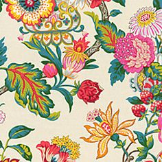 Oriental vase and flower motif in bright juicy hues of pink, yellow, teal and more for a contemporary take on a classic chinoiserie pattern. This candy-colored chinoiserie fabric is available by the yard and on most Loom custom furnishings. Chinoiserie Fabric, Chinoiserie Wallpaper, Chinoiserie Chic, Fabric Wallpaper, Wall Wallpaper, Textiles, Textile Patterns, Print Patterns, Embroidery Patterns
