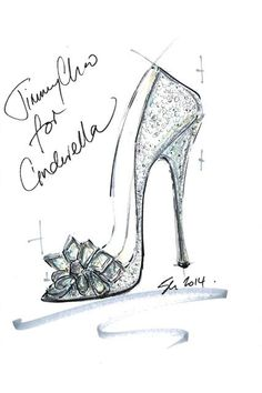 See how nine of Saks Fifth Avenue's favorite designers put their own spin on the iconic glass slipper from Disney's Cinderella, opening in theatres March Design By: Jimmy Choo Shoe Sketches, Fashion Sketches, Fashion Illustrations, Fashion Drawings, Fashion Illustration Shoes, Drawing High Heels, Christian Louboutin, Cinderella Slipper, Jimmy Choo Cinderella Shoes