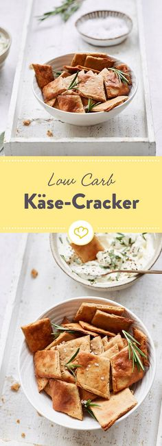 Wie Käse dir als Low Carber noch besser schmeckt? Als krosse Cracker aus dem Of… How does cheese taste even better as a low carber? As crispy crackers from the oven refined with peanut flour, egg and fresh herbs. Low Carb Menus, Low Carb Keto, Low Carb Recipes, Healthy Recipes, Healthy Food Choices, Healthy Snacks, Low Carb Cheesecake Recipe, Low Carb Crackers, Cheese Tasting