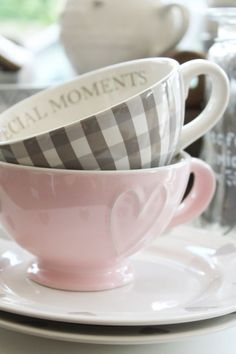 bellasecretgarden:  (via Pin by ❁ Eleanora Rinaldi ❁ on :: Tea Time :: | Pinterest | Pink Grey, Gingham and Cups)