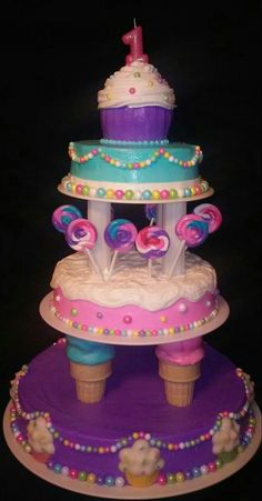 Sweet treat / cupcake / lollipop / ice cream cone birthday cake