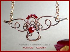 popnicute - JANUARY Birthstone Necklace Crystal Angel of Truth Red Garnet