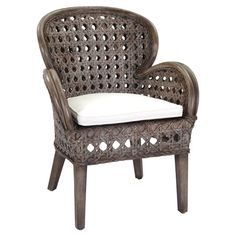 Artfully handcrafted, this eye-catching wood arm chair showcases a curving silhouette and woven design.    Product: Chair