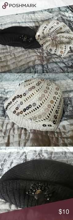 Two women Phadora winter hats with sequins New york and co very stylist for those cold weather New York & Company Accessories Hats